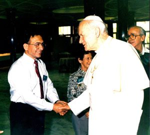 Costandi Bastoli with The Pope 1992
