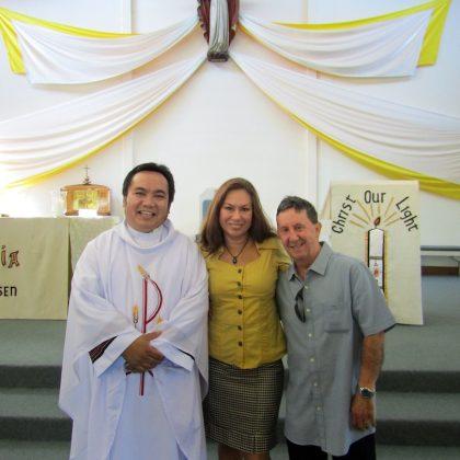 RCIA 2018 Fr. Flor, Kim & Chris